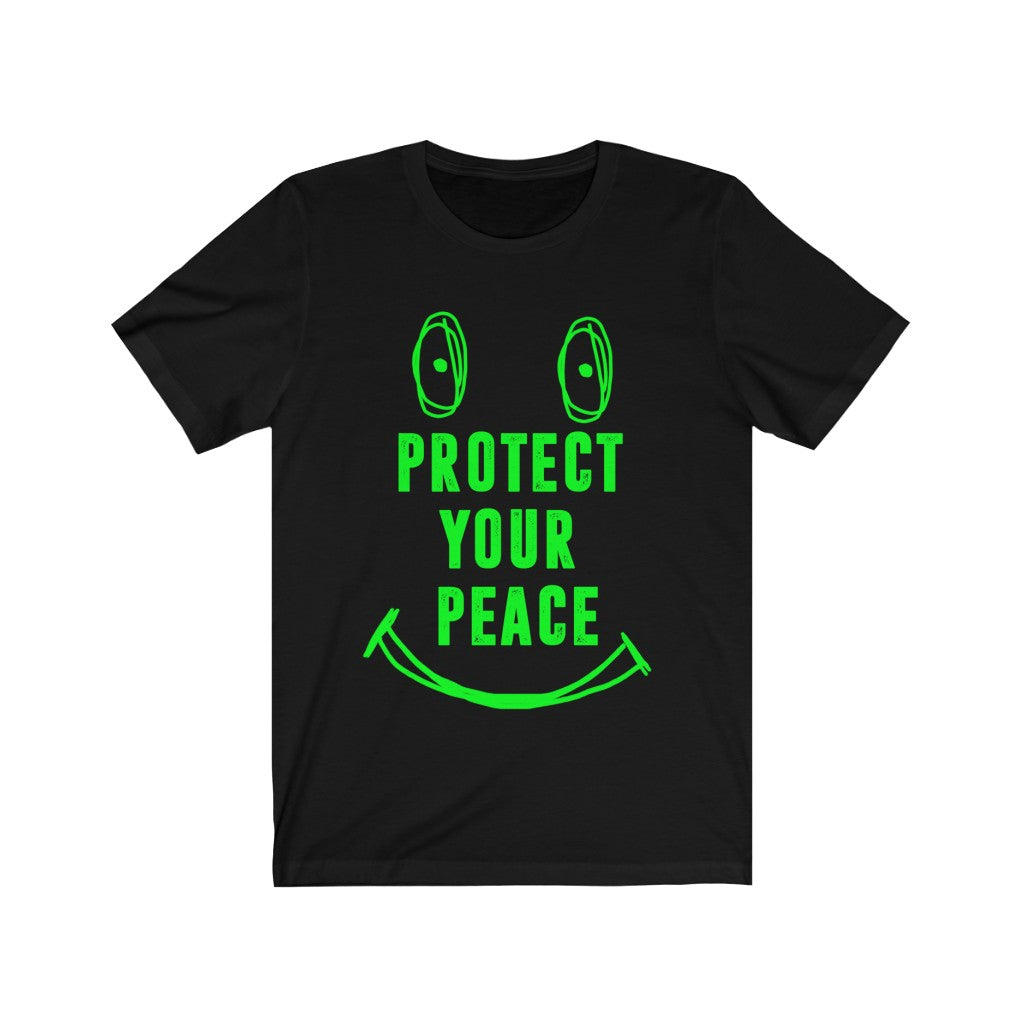 Black protect your peace shirt with Lime green writing Unisex Jersey Short Sleeve Tee