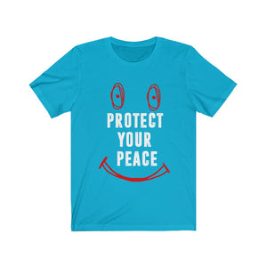 Baby Blue Protect your peace t-shirt red and white print