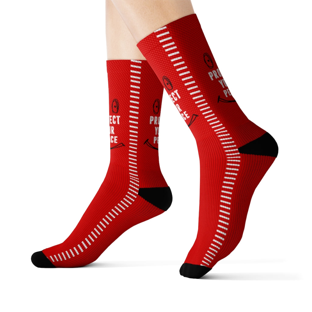 RED PROTECT YOUR PEACE SOCKS Sublimation Socks