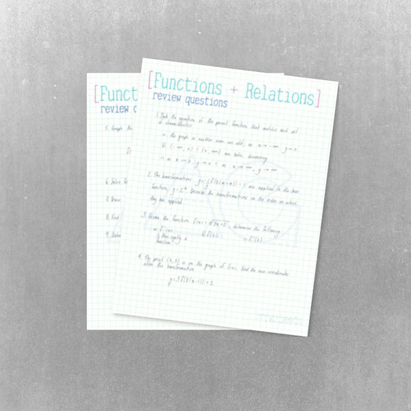 Functions + Relations: review questions and solutions - AG Tutoring