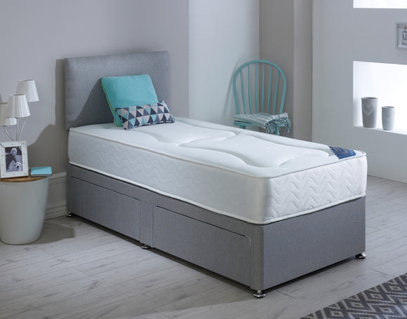 SINGLE 3FT Divan Bed With Mattress And Headboard 5 COLOURS