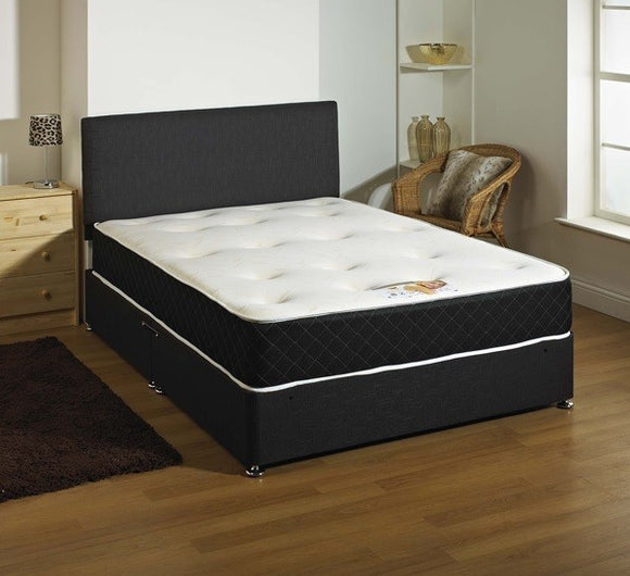 KING SIZE 5FT Fabric Divan Bed With Mattress And Headboard 5 COLOURS