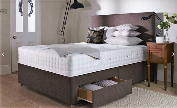 SMALL DOUBLE 4FT Divan Bed With Mattress And Headboard 5 COLOURS