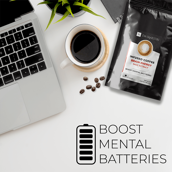 Healthy Coffee Infused with Sage Extract and Adaptogens | Gourmet Coffee	RECHARGE YOUR MENTAL BATTERIES! Brain Energy Coffee blend contains sage, a herb renowned for its memory-enhancing, attention-boosting properties. Try now! BRAIN ENERGY COFFEE