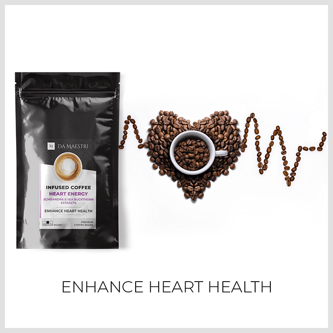 Coffee Infused with Schisandra & Sea Buckthorn. Organic Extracts | Heart Healthy Blend	STAY YOUNG AT HEART! This special coffee blend gets its energy from Schisandra, an adaptogenic herb that has been found to improve blood circulation by as much as 9% in