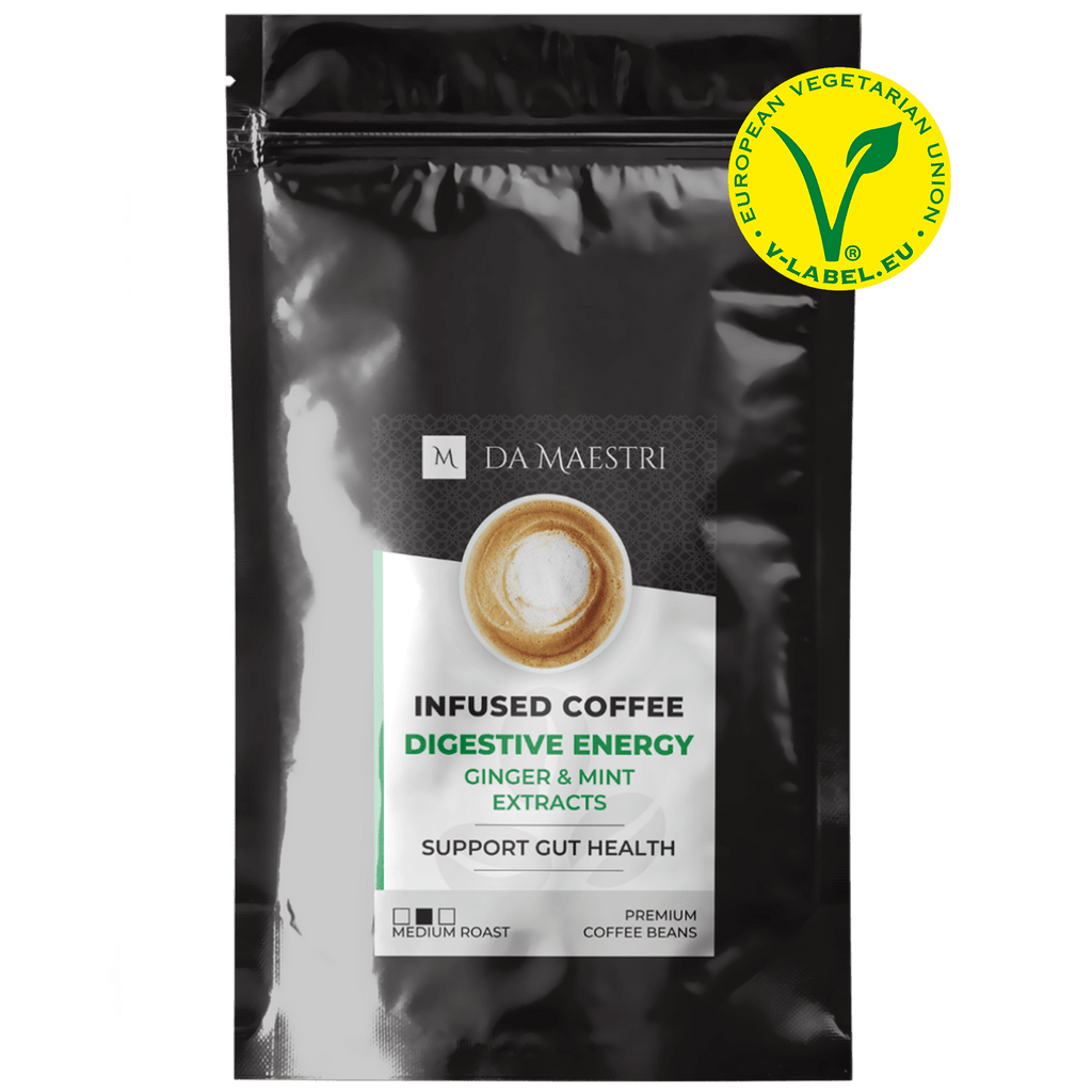 Coffee Infused with Ginger & Peppermint for Gut Health | Vegan and Keto Friendly	IMPROVE YOUR MEALS INTAKE! Struggle with a sensitive stomach? If you are plagued by issues such as nausea, slow metabolism, diarrhea, or constipation, take our Digestive Energy coffee blend out for a spin! SHOP NOW! DIGESTIVE ENERGY COFFEE