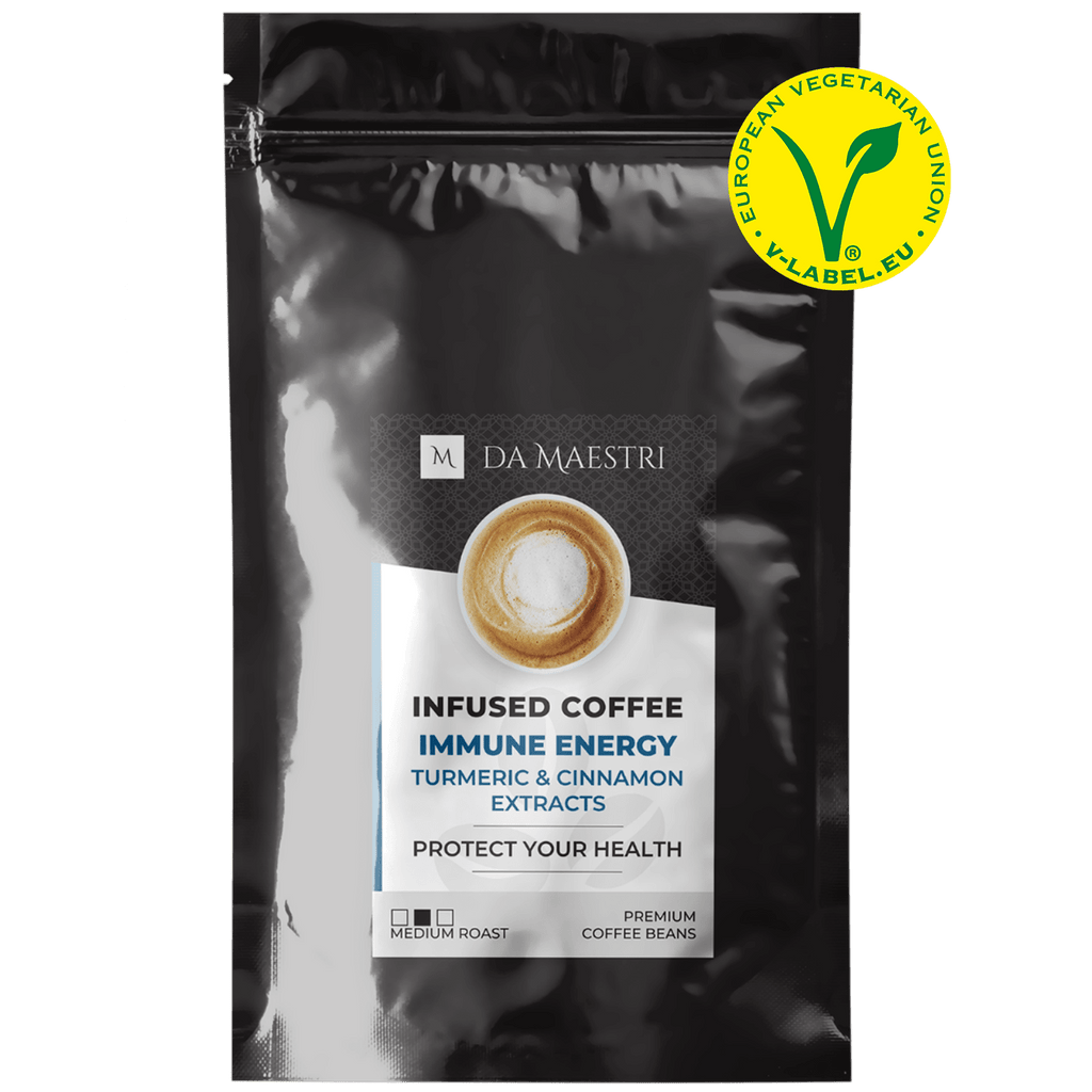 Coffee Infused with Turmeric & Cinnamon. Organic Extracts | Vegan, Keto, Paleo Friendly	PROTECT YOUR HEALTH! Turmeric and cinnamon not only lend a signature flavour to this mix but also functional benefits for immune health. SHOP NOW! IMMUNE ENERGY COFFEE
