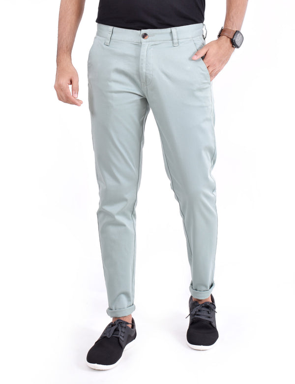 ADNOX Men's Casual Solid Ankel Fit Cotton Trousers (Bluish Green)
