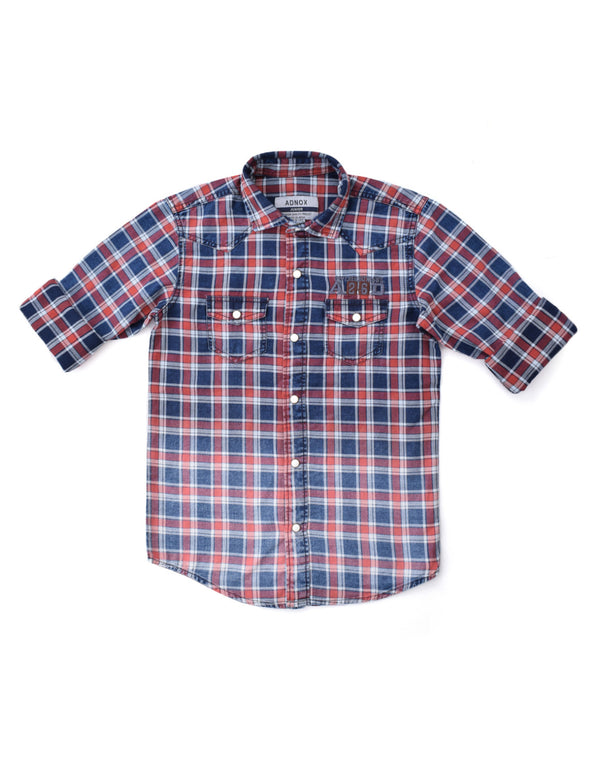 ADNOX Junior Boys' Checkered Twill Cotton Full Sleeve Indigo Shirt (Maroon in Blue)