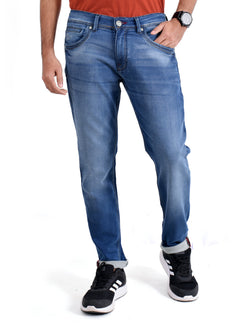 ADNOX Wrinkle-Shaded Jeans for Men (Light Blue)