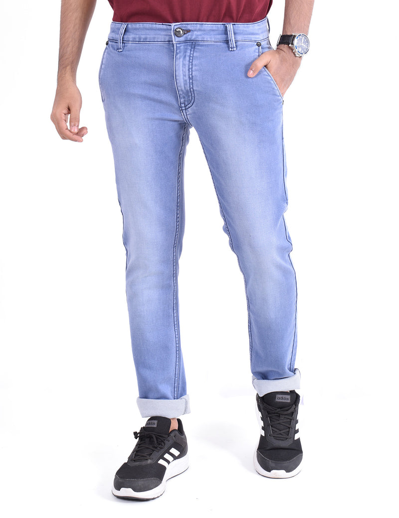 ADNOX Mens Simple Gradient-Shaded Jeans (Light Blue)