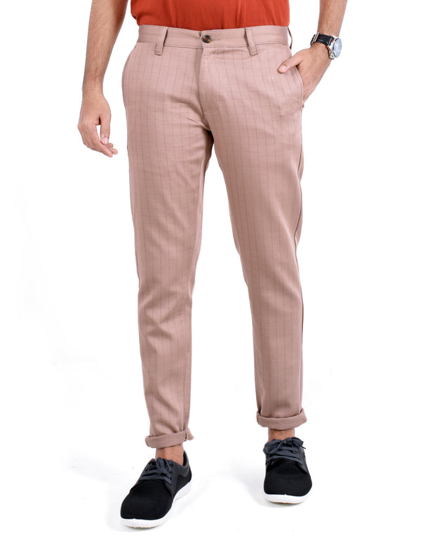 ADNOX Men's Casual Checkered Trousers - Pure Cotton Pants (Peach)