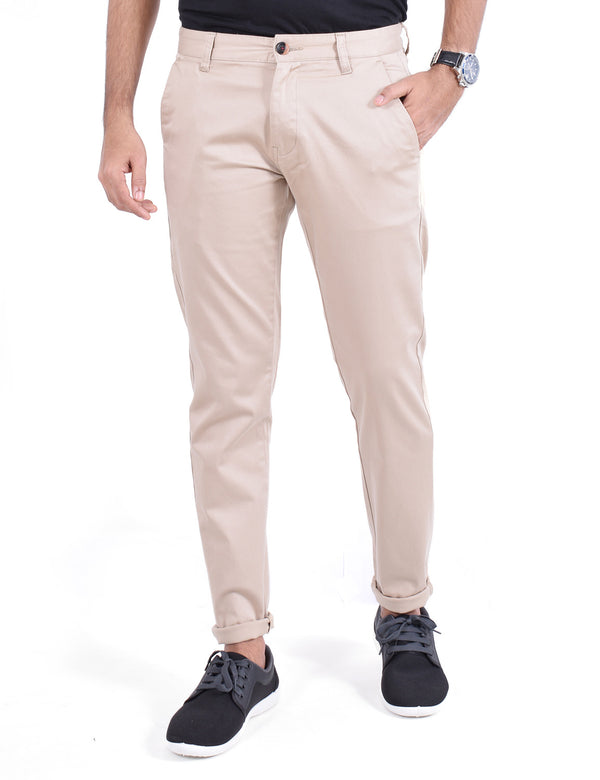 ADNOX Men's Casual Solid Ankle Fit Cotton Trousers (Light Khaki)
