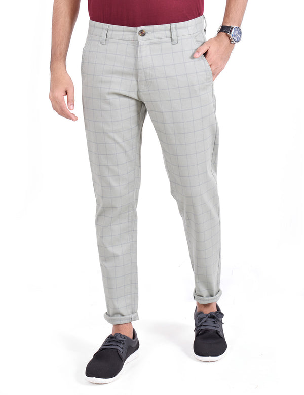 ADNOX Men's Casual Checkered Trousers - Pure Cotton Pants (Light Grey)