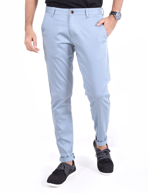 ADNOX Men's Casual Solid Ankel Fit Cotton Trousers (Steel blue)