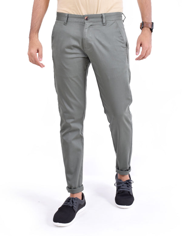 ADNOX Men's Casual Solid Ankel Fit Cotton Trousers (Army Green)