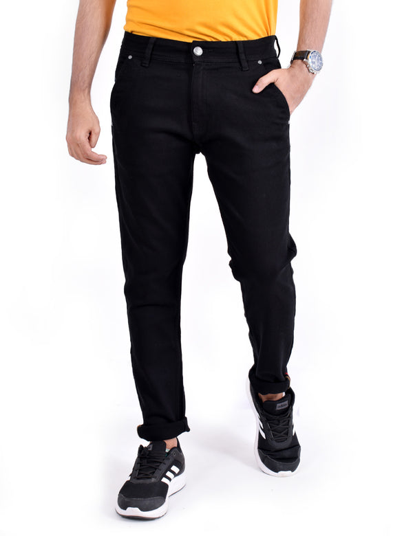 ADNOX Men's Casual Solid Jeans (Black)