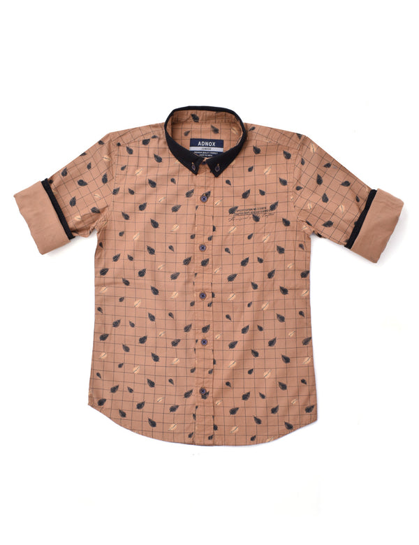 ADNOX Junior Boys' Printed Fine Twill Cotton Full Sleeve Shirt (Light Brown)