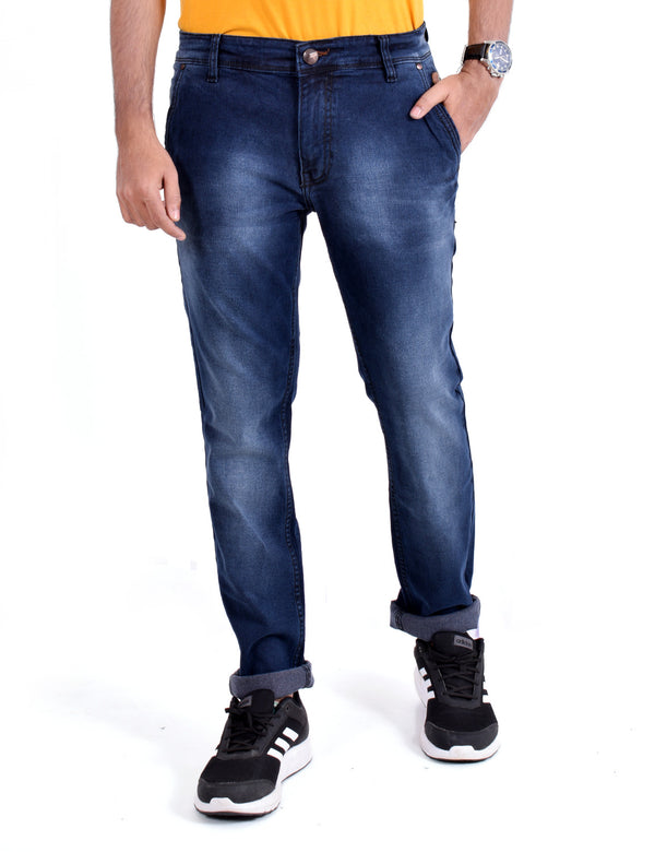 ADNOX Simple Shaded Jeans for Men (Navy Blue)