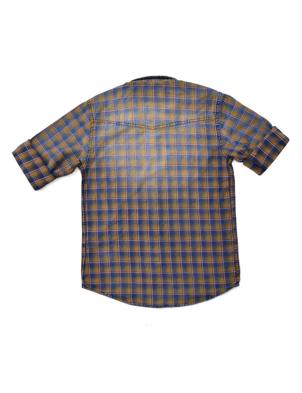 ADNOX Junior Boys' Checkered Twill Cotton Full Sleeve Indigo Shirt (Yellow in Blue)