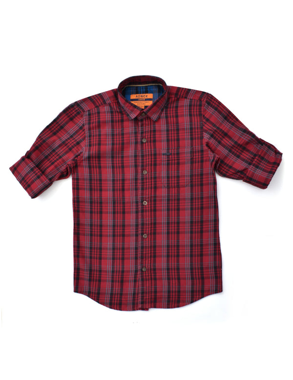 ADNOX Junior Boys' Checkered Twill Cotton Full Sleeve Casual Shirt (Maroon)
