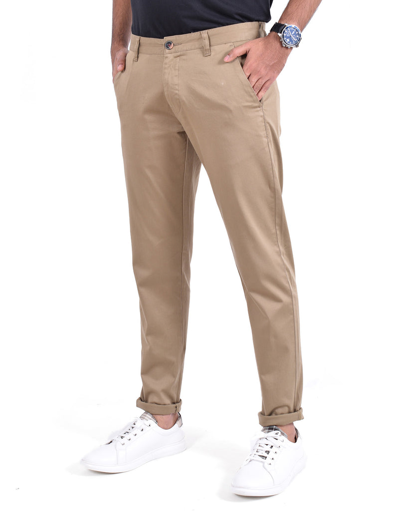 ADNOX Men's Casual Solid Ankel Fit Cotton Trousers (Khaki)