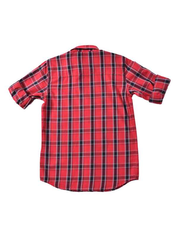 ADNOX Junior Boys' Checkered Twill Cotton Full Sleeve Shirt (Crimson Red)