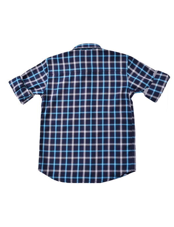 ADNOX Junior Boys' Checkered Twill Cotton Full Sleeve Shirt (Cyan in Navy)