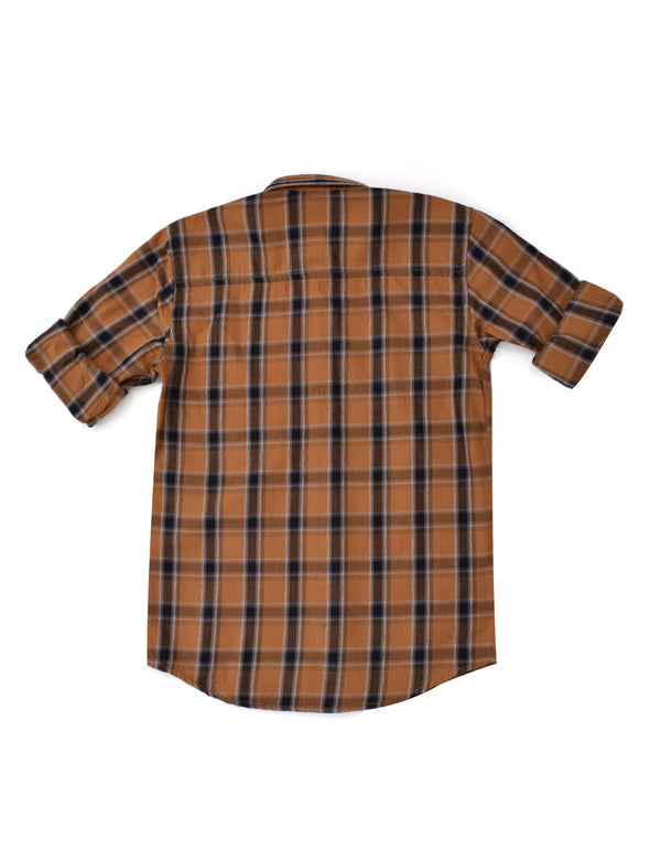 ADNOX Junior Boys' Checkered Twill Cotton Full Sleeve Shirt (Brown)