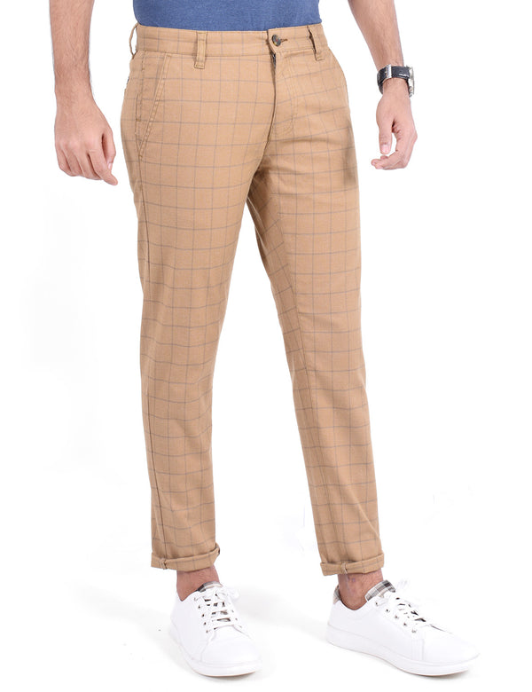 ADNOX Men's Casual Checkered Trousers - Pure Cotton Pants (Light Khaki)