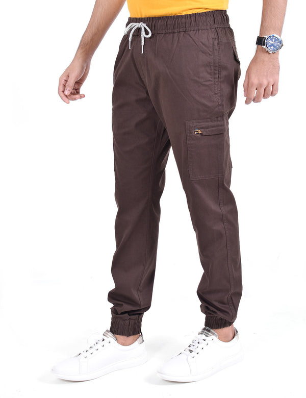 ADNOX Cotton Joggers for Men (Dark Brown)