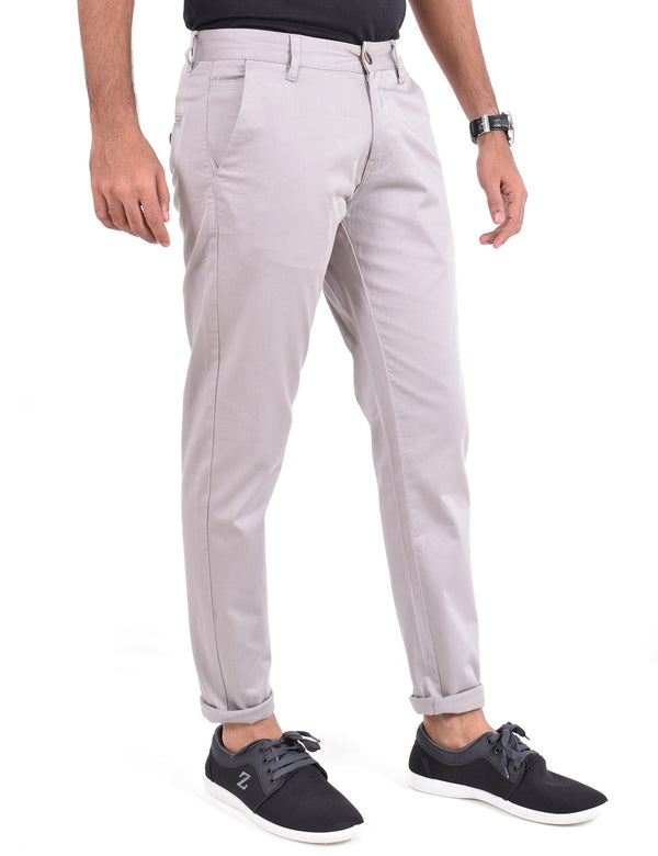 ADNOX Men's Casual Solid Ankel Fit Cotton Trousers (Light Grey)