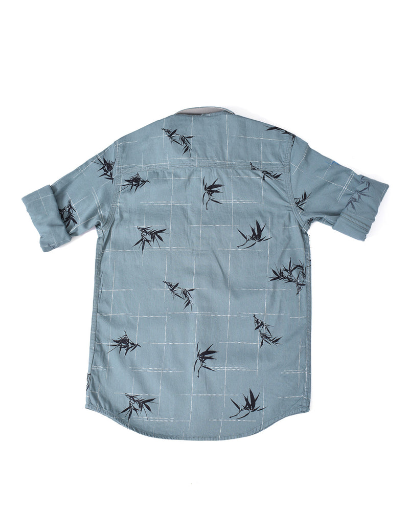 ADNOX Junior Boys' Designer Printed Dobby Cotton Full Sleeve Shirt (Teal Blue)