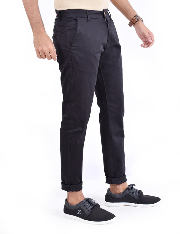 ADNOX Men's Casual Solid Ankel Fit Cotton Trousers (Black)