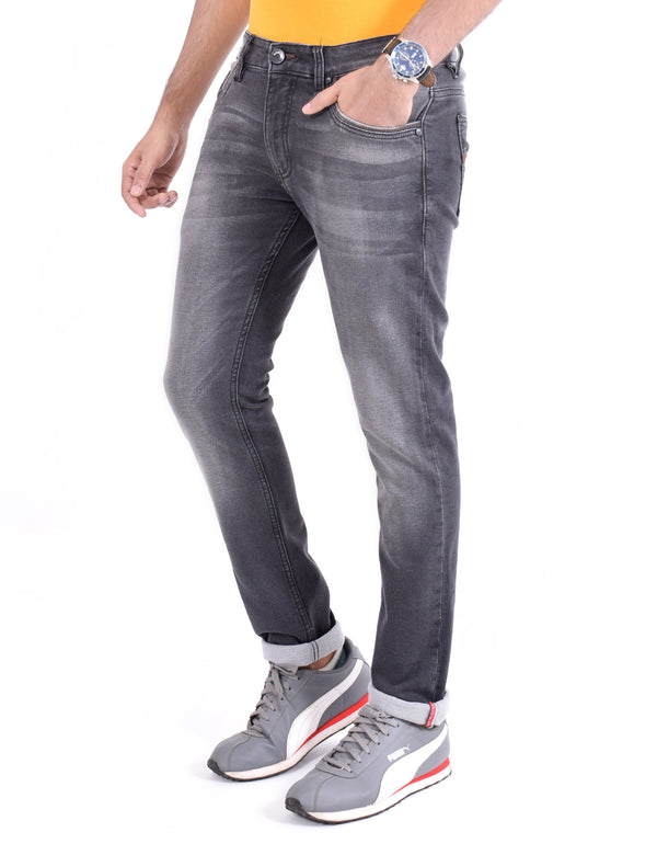 ADNOX Men's Wrinkle-Shaded Smart Fit Jeans (Grey)