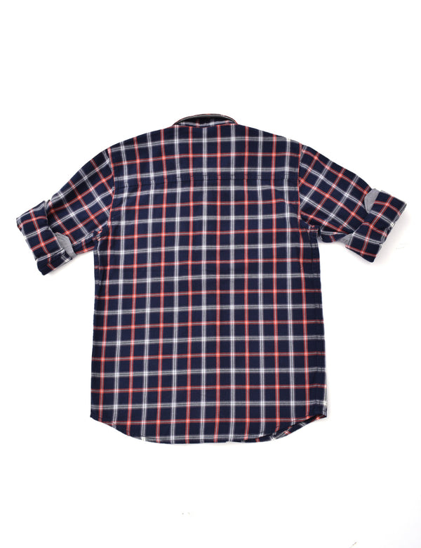 ADNOX Junior Boys' Checkered Twill Cotton Full Sleeve Shirt (Red in Navy)