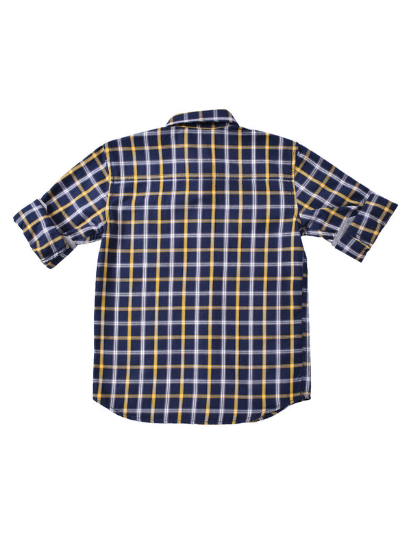 ADNOX Junior Boys' Checkered Twill Cotton Full Sleeve Shirt (Yellow in Navy)