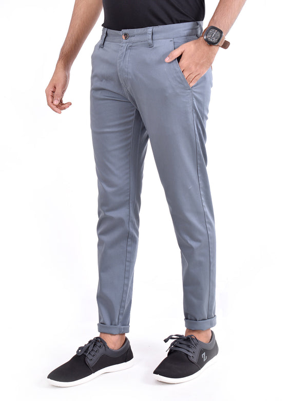 ADNOX Men's Casual Solid Ankel Fit Cotton Trousers (Bluish Grey)