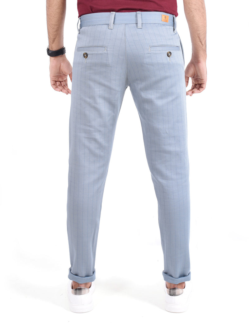 ADNOX Men's Casual Checkered Trousers - Pure Cotton Pants (Steel blue)