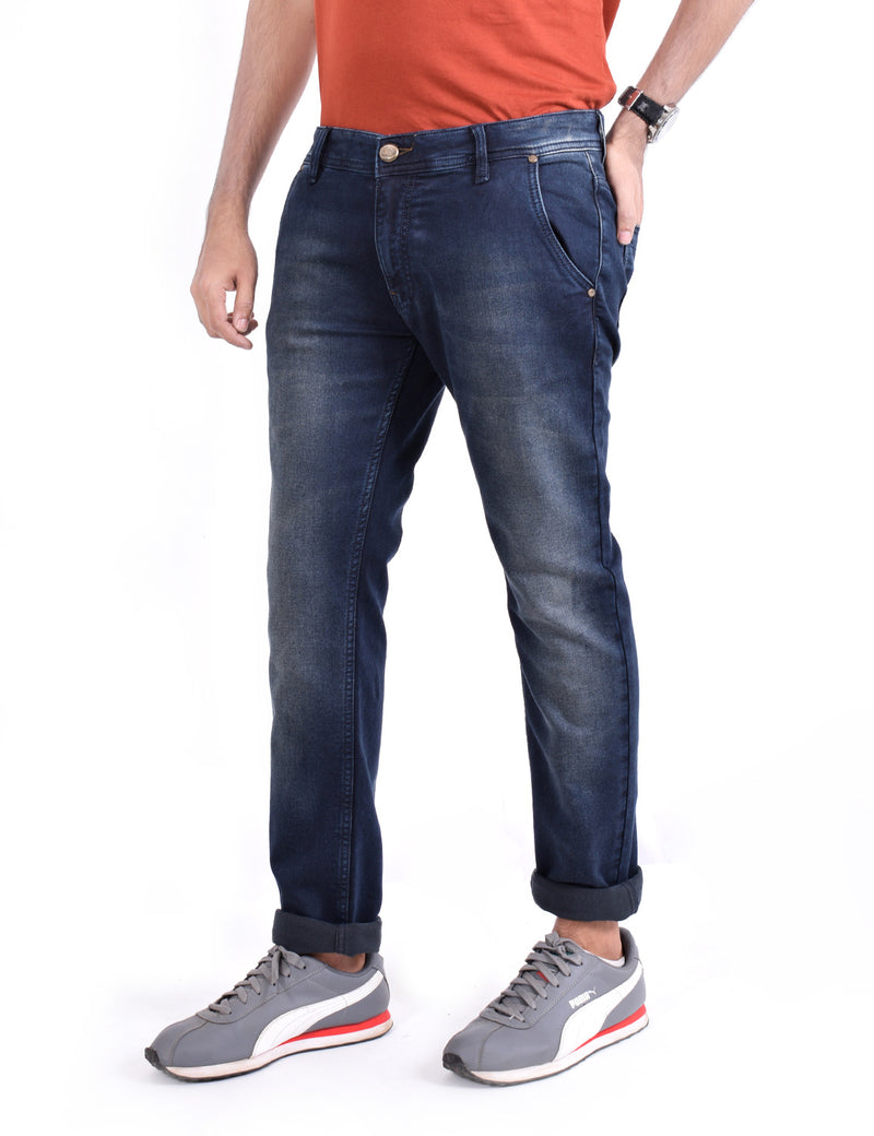 ADNOX Men's Slightly Shaded Smart Fit Jeans (Navy Blue)