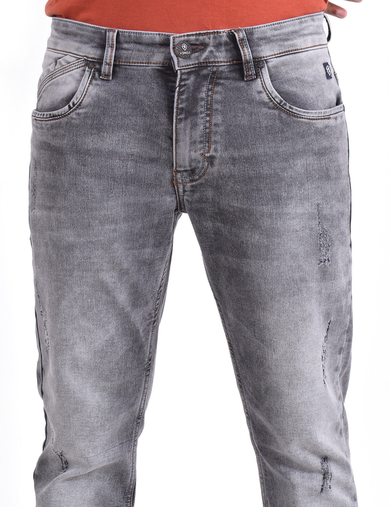 ADNOX Mens Slight Wrinkle-Shaded Jeans (Grey)
