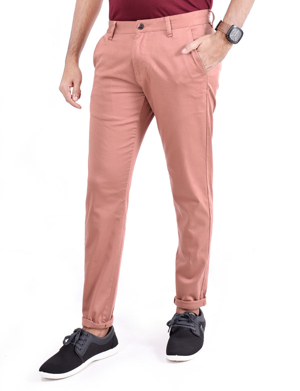 ADNOX Men's Casual Solid Ankel Fit Cotton Trousers (Indian Red)