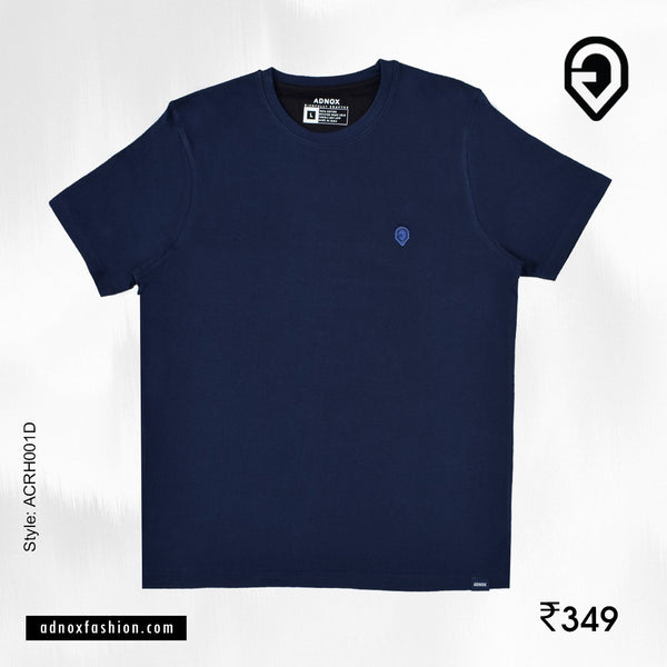 Round Neck Navy Plain T-Shirt