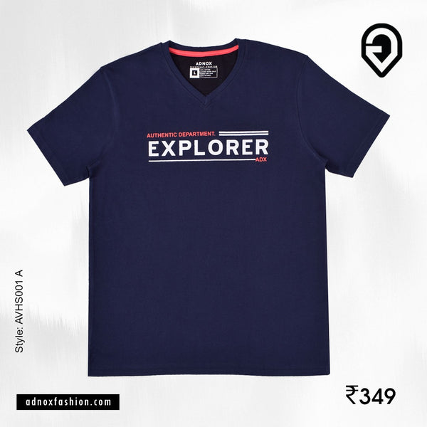Round Neck Navy Designer T-Shirt