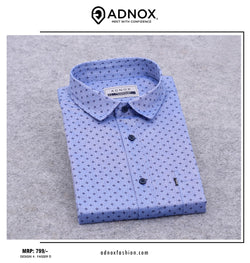 Light Royal Blue Printed Shirt for Men