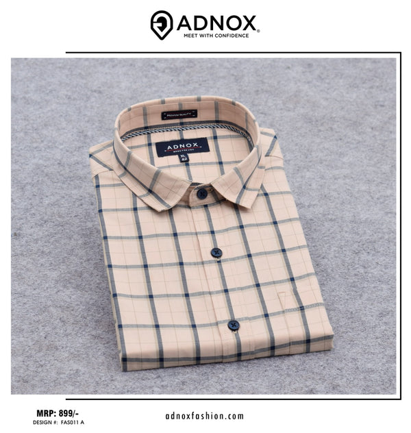 Beige and Black Checkered Shirt for Men