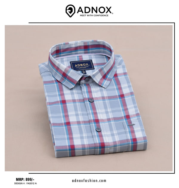 Grey and Red Checkered Shirt for Men