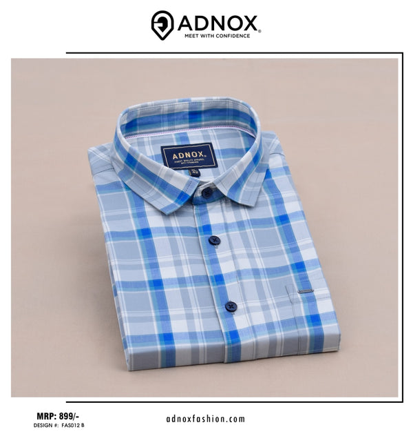 Grey and Blue Checkered Shirt for Men