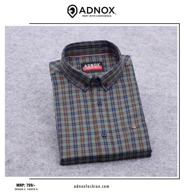 Green, Blue and Red Checkered Shirt for Men