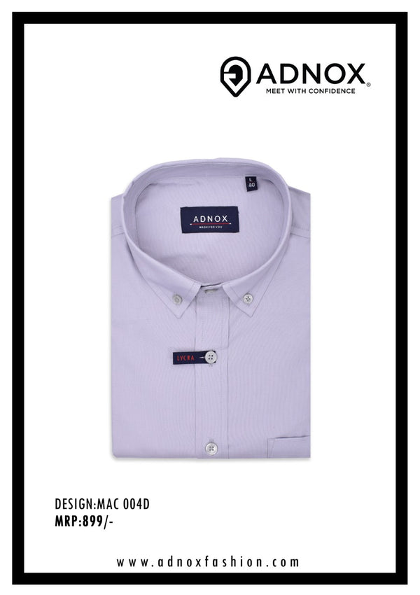 Lilac Solid Lycra Cotton Shirt for Men